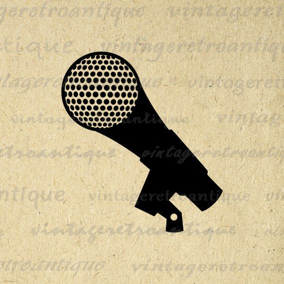 Printable Microphone Image Graphic Music by VintageRetroAntique