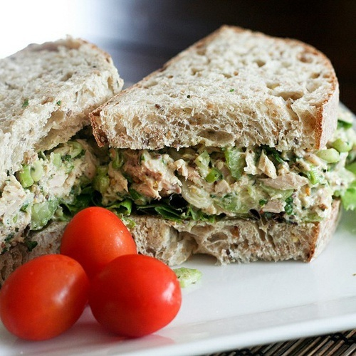 Healthy Tuna Sandwich - Instead of mayo, try mixing in low-calorie dressing into tuna packed in water. Use a whole wheat pita pocket instead of traditional bread for the the extra fiber.
