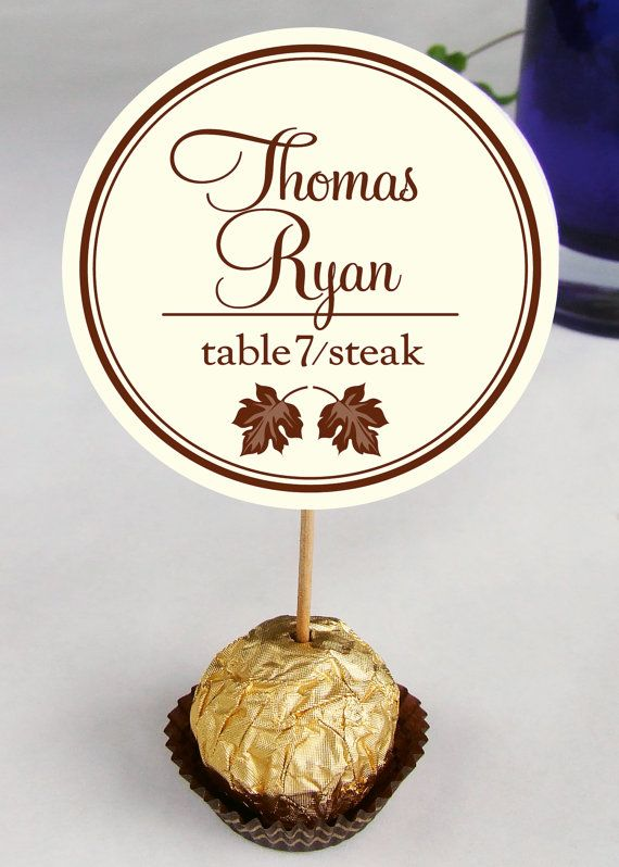 Unique leaf leaves autumn Wedding Reception Ferrero Rocher Chocolate Truffles Escort, Place Cards, placecards, guests name party favors