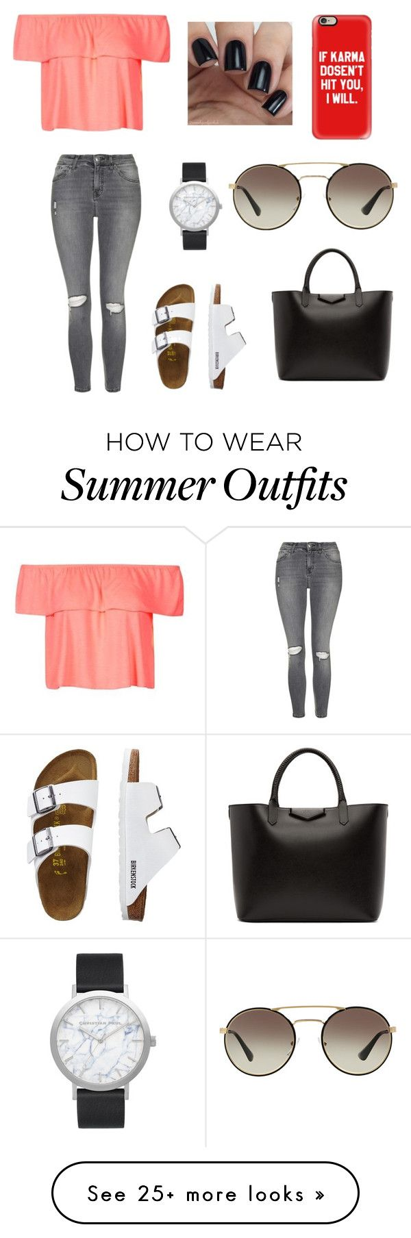 """Summer chic outfit"" by imsofaancy on Polyvore featuring Topshop, Elwood, Givenchy, TravelSmith, Prada and Casetify"