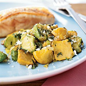Sauteed Baby Squash with Basil & Feta.. if we can't find baby squah, we'll use zucchini & yellow squash.  Delicious & easy summer side dish!