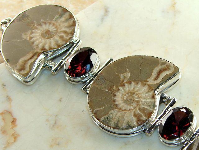 Ammonite Fossil Hinged Bracelet With Garnet Gemstone : Jewels Jaipur