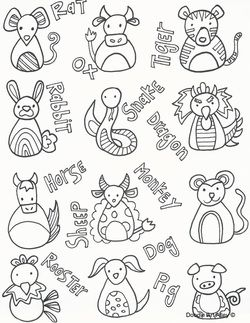 Cute Chinese New Year Coloring Page From Celebration Doodles