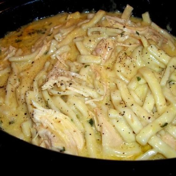 Ingredients :  1 24 ounce package – frozen egg noodles  2 – 14.7 oz cans – cream of chicken soup – sometimes i use 1 can chic...
