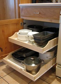 Pre-Assembled Cabinet Pull-Out Shleves by Rolling Shelves for Kitchen, Vanity, Closet, Garage etc. | KitchenSource.com #kitchensource #pinterest #followerfind