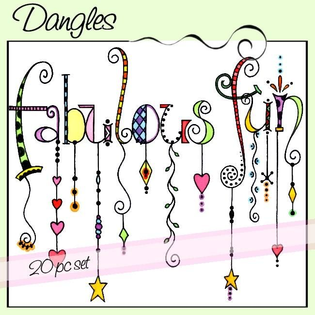 Dangles is a 20 piece set of whimsical watercolored words with colorful dangles.  The words included in this set are:  beautiful, chic, family, fun, playful, serendipity, thoughtful, positivity, fanciful, playful, dream, fabulous, and love.
