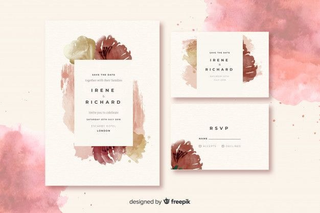 Download Watercolor Wedding Stationery Template Collection For Free In 2020 Wedding Invitation Vector Stationery Templates Wedding Stationery