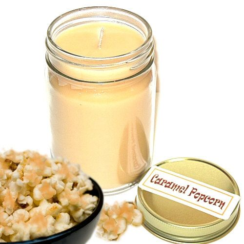 Caramel Popcorn Scent Mason Jar Candle  12 Oz Handmade Salty Sweet on Etsy, $10.50