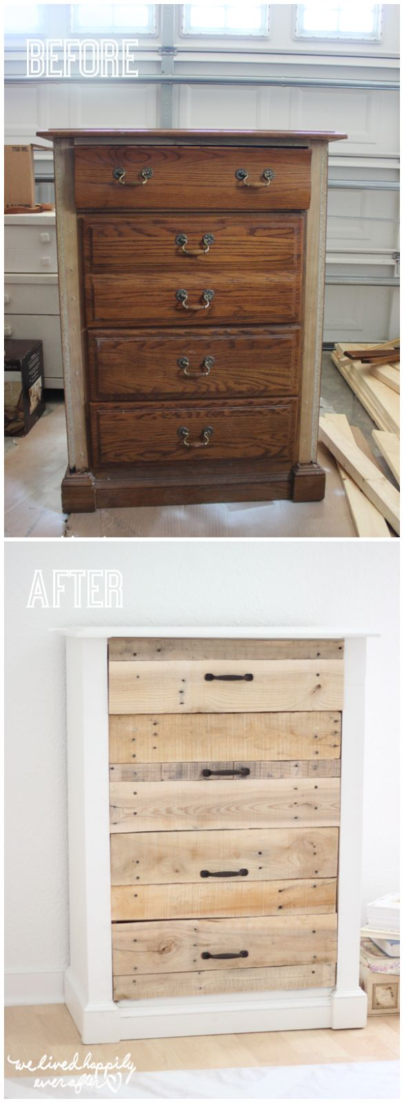 DIY Pallet Dresser- this is such an amazing before and after and would be so simple to do!
