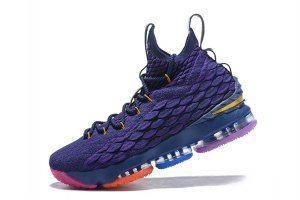 b6c50255a64 Mens Nike Lebron 15 XV Rainbow Purple Basketball Shoes