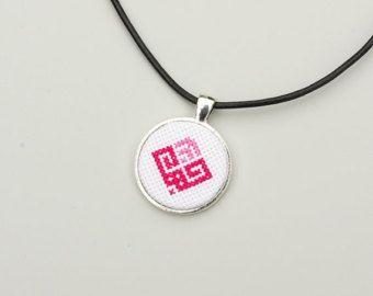 Cross stitch necklace Cross stitch pendant Ethnic by AliinTo