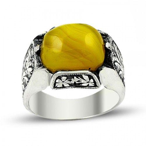 Erkek Yüzük - Sarı Sıkma Kehribar Taşlı Erzurum El Işi Gümüş Erkek Yüzüğü