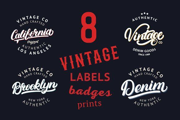 8 Vintage Labels & Badges by Letters-Shmetters on @creativemarket