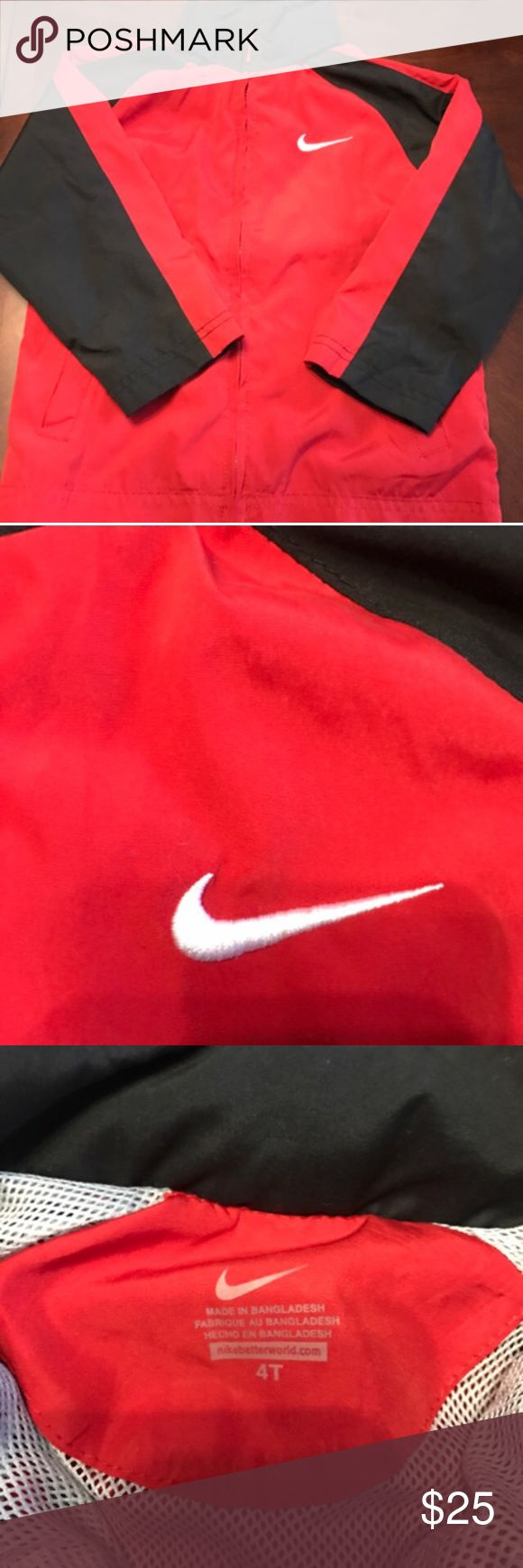 Like new red and black boys Nike nylon jacket Great jacket for spring or fall. There's also a hood that rolls up into the neckline. Nike Jackets & Coats