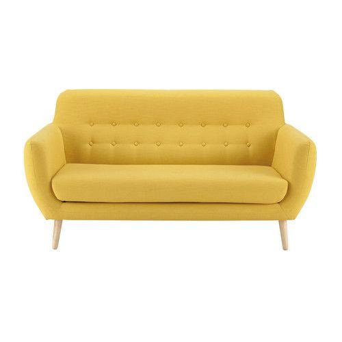 Divano vintage giallo in tessuto 2 posti