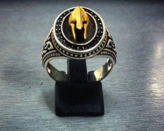"Spartan ring king Leonidas ""battle helmet"" BLACK EDITION sterling silver 925 by GeoartSilversmith"