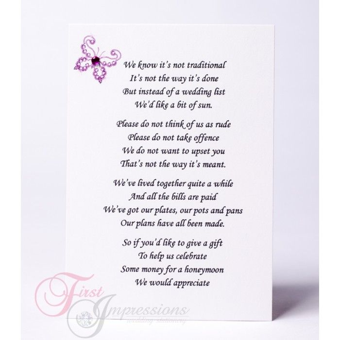 Wedding Gift Poem Charity : wedding invitation wording money instead of gifts Invitations, Party ...