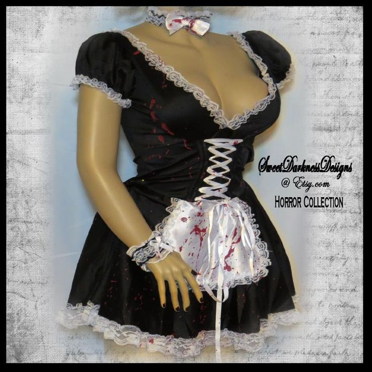 Sexy Maid Costume French Maid Costume Seductive Maid BLOODY FRENCH MAID Size M/L Halloween Costume Hand Painted by SweetDarknessDesigns by SweetDarknessDesigns on Etsy