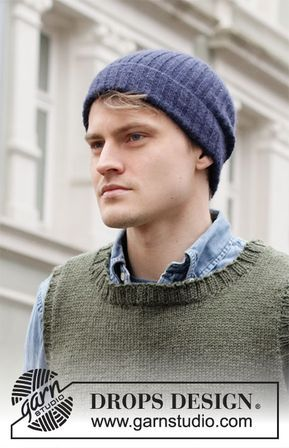 Georgetown Hat - Knitted hipster hat for men in DROPS ...
