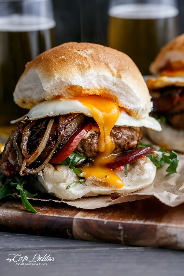 Drunken Aussie Beef Burgers spiked with beer complete with a runny egg and crispy bacon