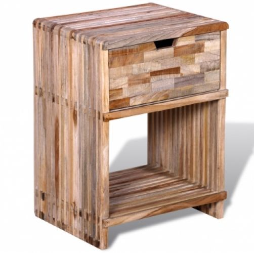 Bedside Cabinet Nightstand Drawer Rustic Style Solid Wood Bedroom Furniture  Unit