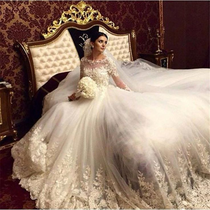 2016 Romantic Victorian Ball Gown Wedding Dresses Scoop Vintage Long Sleeves Arabic Muslim Islamic Wedding Gowns Lace Appliques Bridal Dress Cheap Wedding Gowns Coloured Wedding Dresses From Allanhu, $193.72| Dhgate.Com