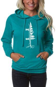 Women's Tree Boarder Hoodie - Aqua/White The Reason I Snowboard