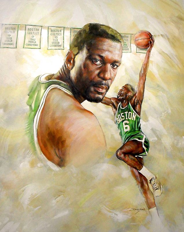 "Bill Russell - ""Celtic Champion"" - 22"" x 28"" - Private collection. Painted by Doug West."