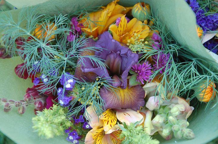 late spring bouquet featuring spuria iris, alstroemeria, snapdragon, calendula, statice, fennel, dill, silverbeet