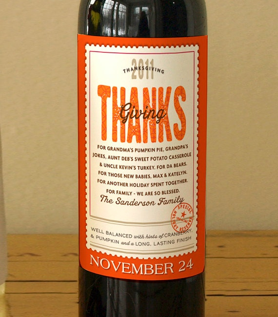 Personalized Thanksgiving wine labels.