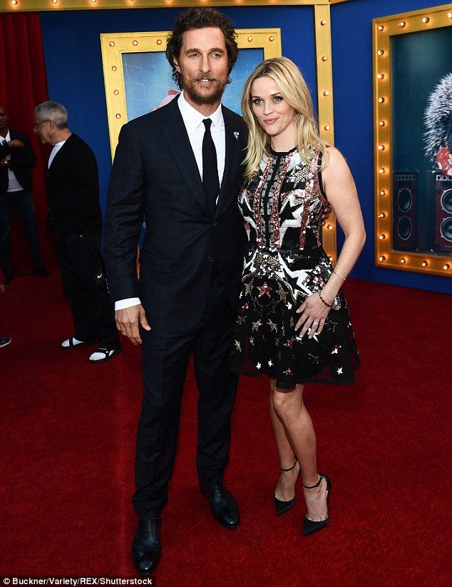 Strike a pose: Matthew posed with Reese Witherspoon, who voices the Sing character Rosita...