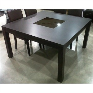 zane 54 dining table this square dining table also has a brown glass insert in the center. Black Bedroom Furniture Sets. Home Design Ideas