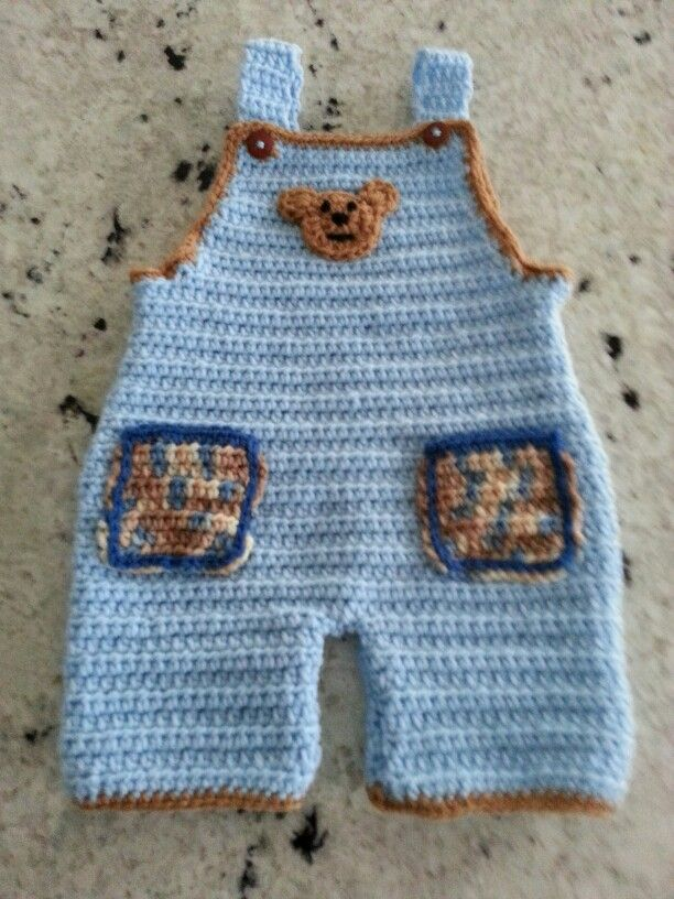 Lil baby boy crocheted overalls