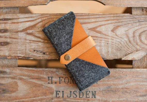 Smart phone Case & Wallet Rough Edge  leather wool by TheNavis, €30.00