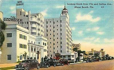Miami Beach Florida 1940 Collins Ave South from 21st St Georgian Hotel Postcard