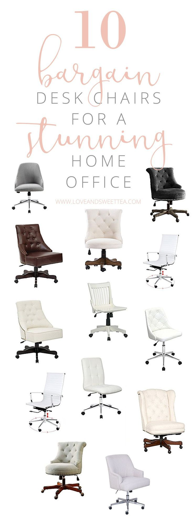Add those two things together (pretty desk chair + comfortable desk chair), and you bet I'm doing some intense shopping around for my next desk chair!  I thought I'd compile a list of some of my favorite feminine desk chairs to save you some time on the hunt. (Because, let's be honest, I'm all about staying productive and meeting your goals!!)  The best part? My budget is as low as possible, so all these desk chairs are under $250! Awesome right? I know!  Click on over to see what I found!
