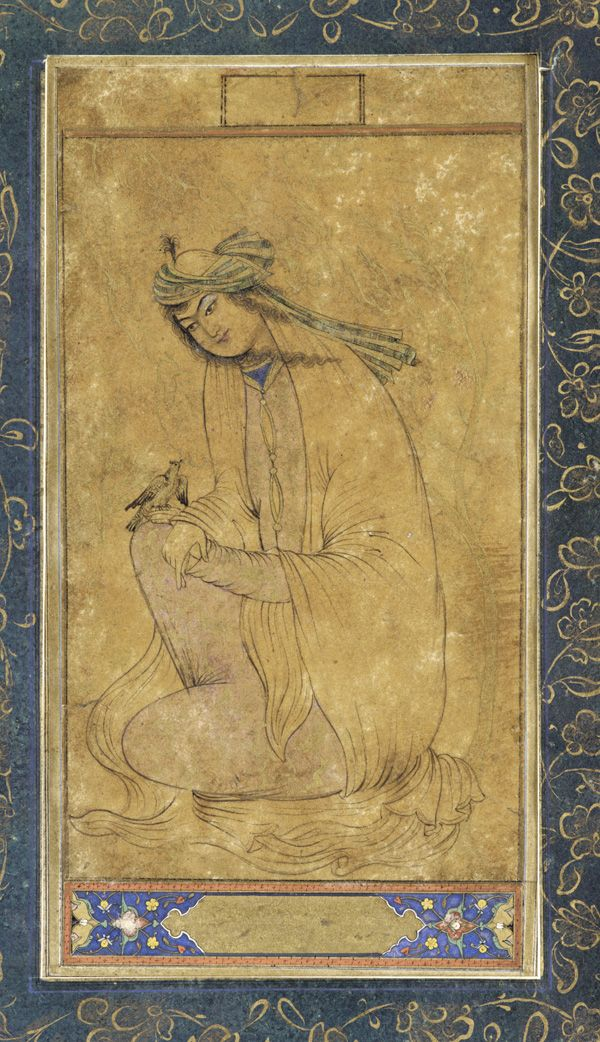 a seated woman holds a bird 17s isfahan