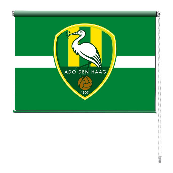 Rolgordijn Ado | De rolgordijnen van YouPri zijn iets heel bijzonders! Maak keuze uit een verduisterend of een lichtdoorlatend rolgordijn. Inclusief ophangmechanisme voor wand of plafond! #rolgordijn #gordijn #lichtdoorlatend #verduisterend #goedkoop #voordelig #polyester #ado #denhaag #den #haag #groen #geel #logo #embleem #sport #voetbal #supporter #club