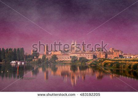 Autumnal magic atmosphere with fog on Mantua city in Lombardy, Italy. #Mantova #City #Romantic #Sunset #Town #Urban #Castle #Mincio #River #sky #Love #Autumn #Fog #Enchanted #Magic #Misty #Atmosphere