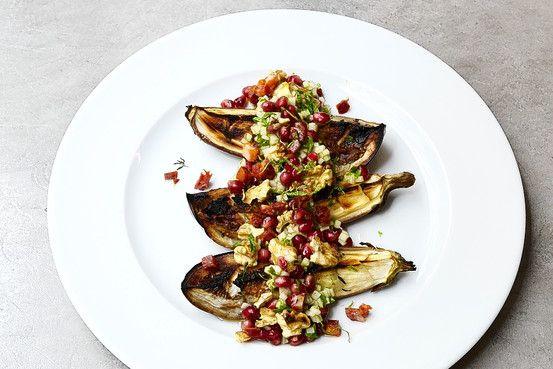 Rose's Roasted Eggplant With Pomegranate Vinaigrette | Pomegranates ...
