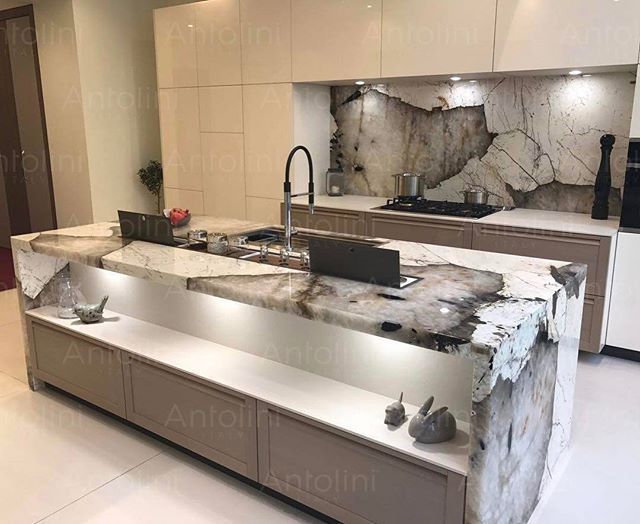 Amazing Kitchen In Natural Stone Quot Patagonia Quot Exclusive Of Antolini Nerinea Architecture