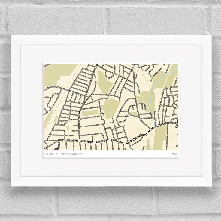 Blythe Hill Street Typography Map Art Poster Print White Frame