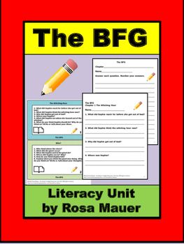 The BFG by Roald Dahl: Receive comprehension questions for each chapter of the story. Comprehension questions are in task card and worksheet formats. A response form for students and answers for the teacher are provided.