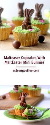 Malteaser Cupcakes flavoured cupcakes with Mateaser pieces. Malt flavored grass buttercream and MaltEaster mini bunnies. A lovely Easter bake.