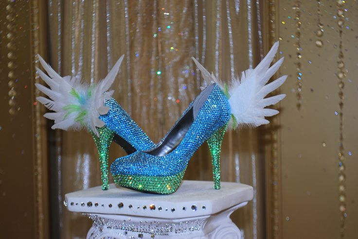 Angel Blue Heels by Sondra Celli  Swarovski crystal packed heels (light turquoise and peridot) with feather accents...Heavenly!