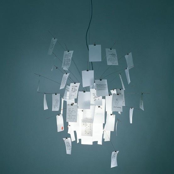 Ingo Maurer - een fijn klein briefje brengt licht in je leven - light message - lamp kroonluchter