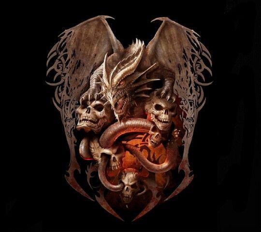 Dragon Et Tete De Mort Tableau D Art Pinterest Dragon