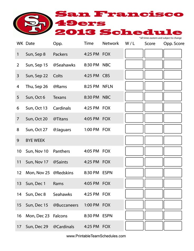 San Francisco 49ers 2013 Football Printable Schedule How