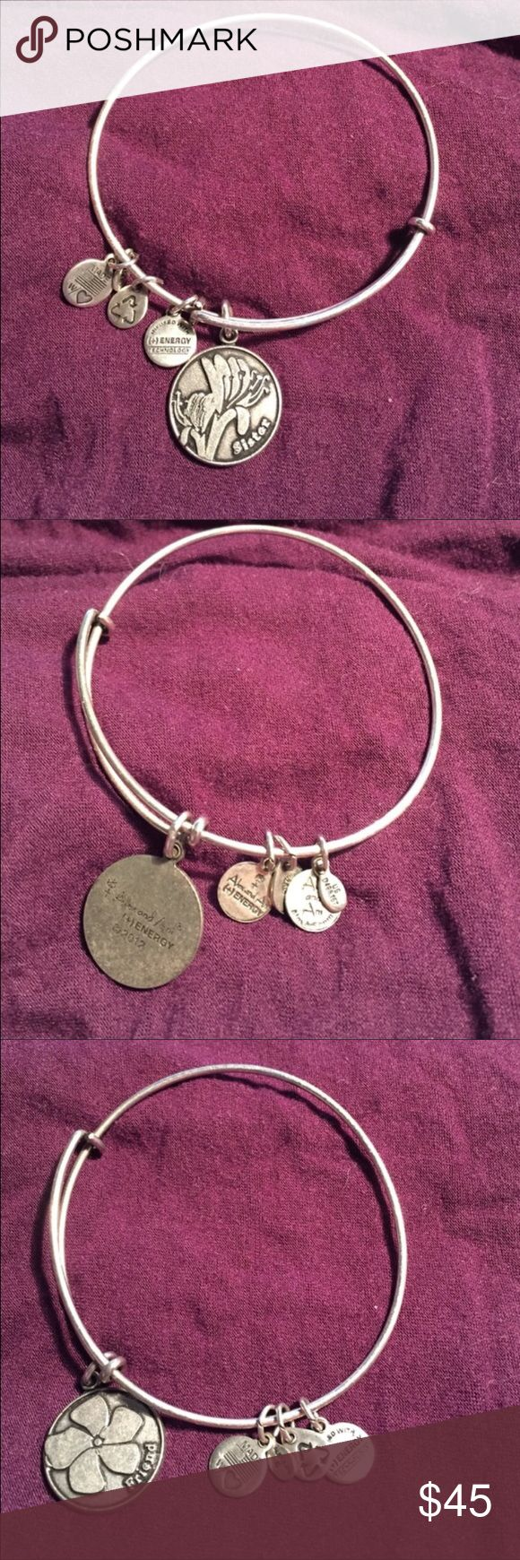 RePosh Set of 2 EUC Alex & Ani Bracelets Silver EUC Alex + Ani Energy SISTER charm bangle in silver and FRIEND Shamrock charm bracelet in silver. Comes from a smoke free home and ships in one business day! Alex & Ani Jewelry Bracelets