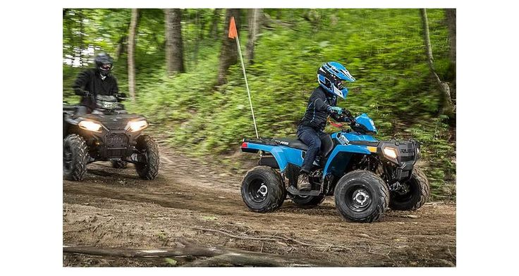 ATVs can be hazardous to operate and are not intended for on-road use. The Polaris 50-cc ATV model is intended for operators ages 6 and over, 90-cc ATV models are intended for operators ages 10 and older, and the 200-cc ATV is intended for operators age 14 and older. All Polaris youth vehicles require adult supervision at all times for operators under age 16.